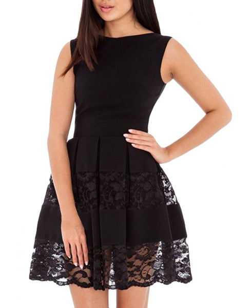 Black Lace Paneled Round Neck A-line Mini Pleated Summer Short Dress