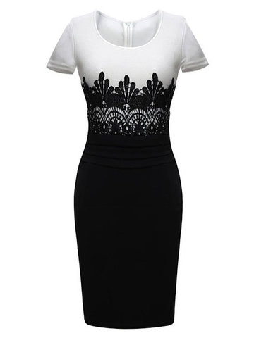 Black And White Pencil Lace Stitching Midi Dress