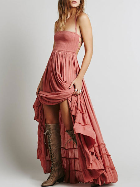 Long Summer Beach Dresses Open Back Maxi Halter Swing Dress