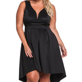 Plus Size Sleeveless V Neck High Low Midi Party Dress