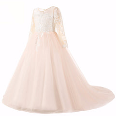 Long Sleeve Champagne Puffy Lace Flower Girl Dress 2-13 Years 2019