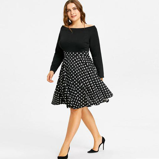 Off Shoulder Plus Size Women Black Dress 2018 Print Midi Dress with Pockets