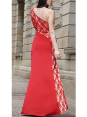 One Shoulder Long Sleeve Lace Long Prom Evening Maxi Dress