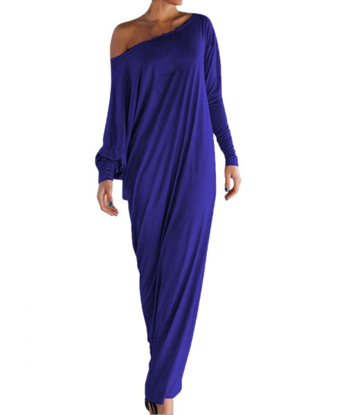 Fall One Should Ruffled Slit Long Sleeve Maxi Dress