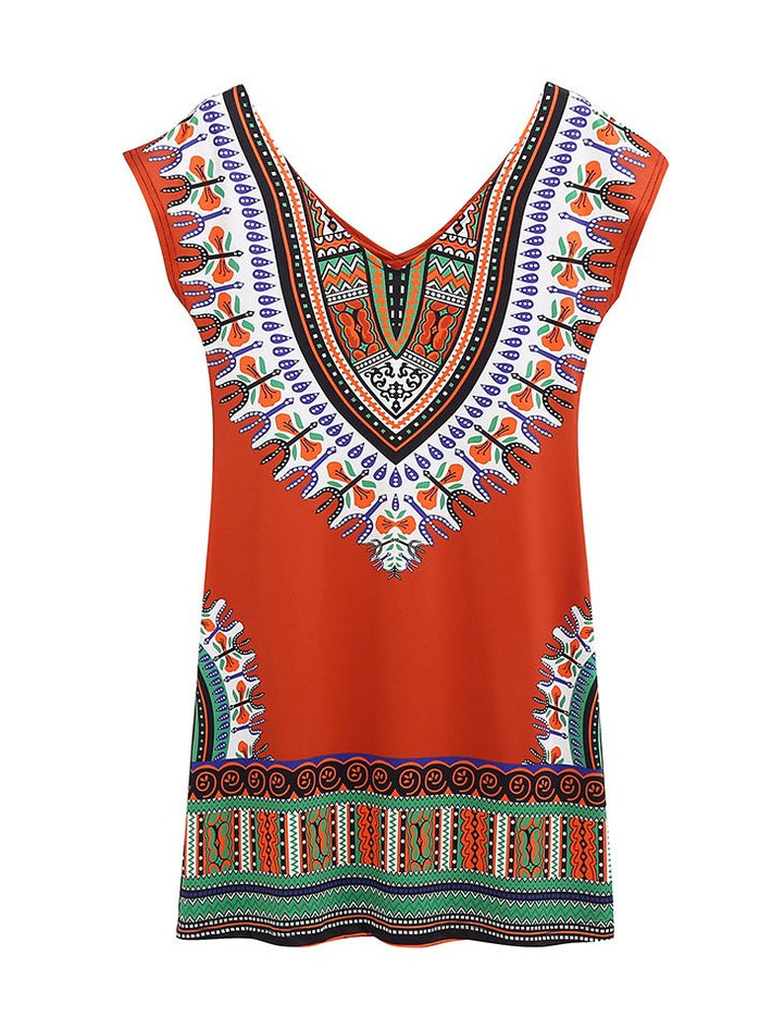 Summer V-neck Short Dashiki Printed Mini Summer African Dresses