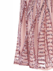 Pink Bandeau Sequins High-waisted Prom Evening Maxi Gown Dress