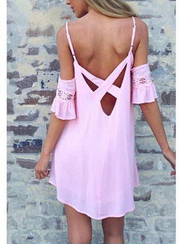 Pink Summer Backless Chiffon Short Slip Bell Sleeve Dress