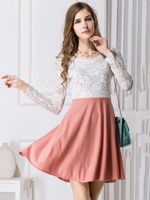 Pink Cute Sweet Long-Sleeved Stitching Lace Dress