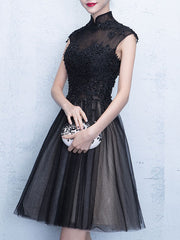 Plus Size Black Homecoming Lace Splicing Gown Evening Party Dress