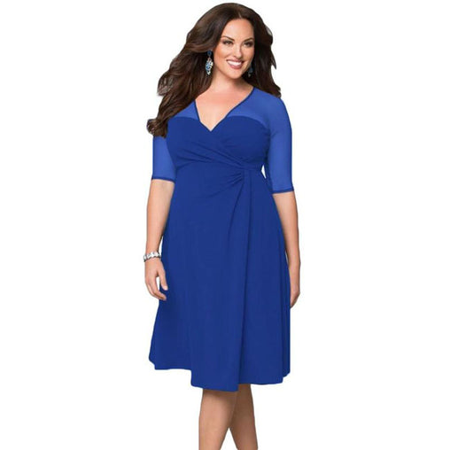 Plus Size Fashion V Neck Half Sleeve Work Midi Dress