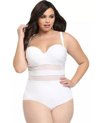 Plus Size One Piece White Black Mesh Paneled Bralette Swimsuit