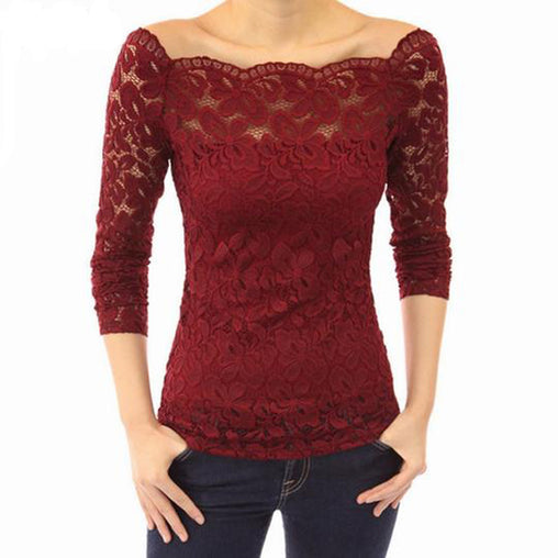 Plus Size Off Shoulder Lace Long Sleeve Casual Blouse