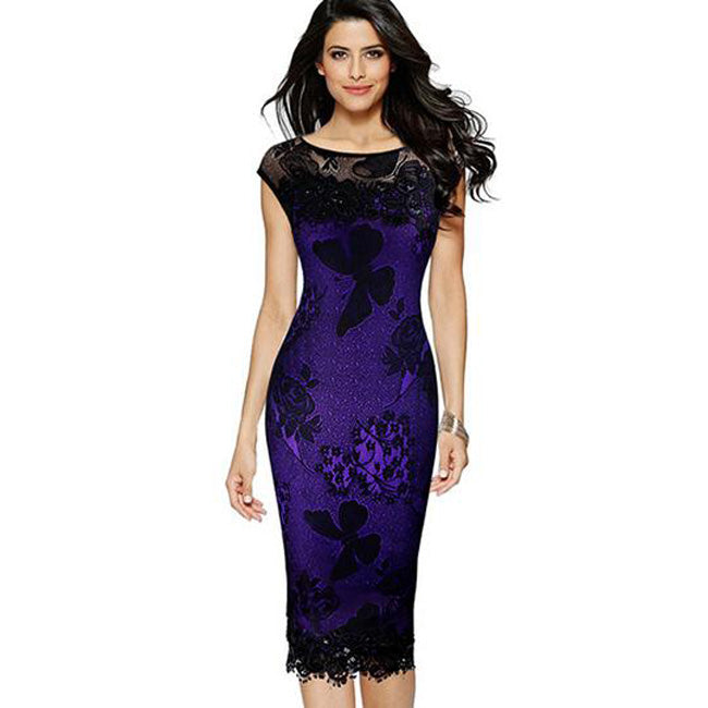 Plus Size Pencil Dress Summer Sequins Butterfly Lace Crochet Party Midi  Bodycon Dress