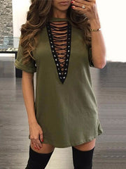Summer Lace-up T-shirt Dress Sexy Open Front V-neck Cotton Short Club Dress