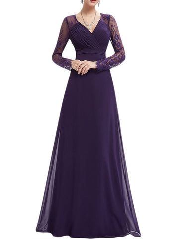 Plus Size V Neck Floral Lace Paneled Long Evening Prom Maxi Dress