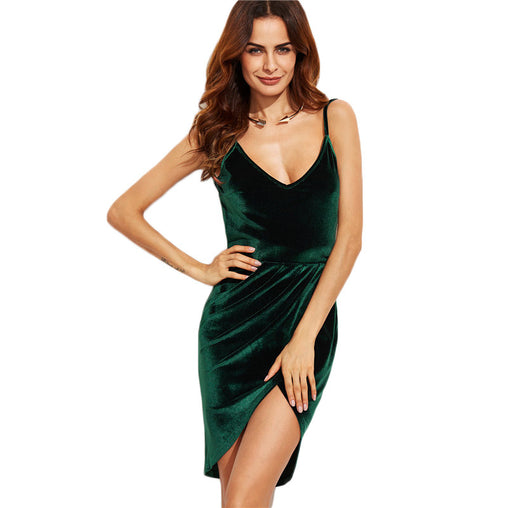 Sexy Backless High Low Ruched Straps Velvet Party Club Mini Cami Short Dress