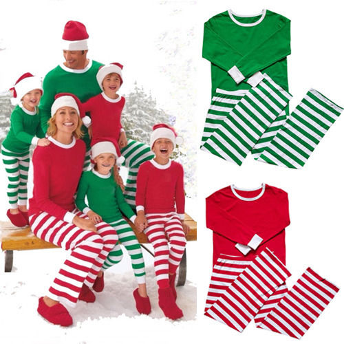 Adult Women Men Matching Family Stripe Christmas Pajamas Sleepwear Xmas Pjs Set