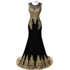 2019 Gold Embroidery Mermaid Evening Black Blue Lace Gowns Formal Long Prom Dress
