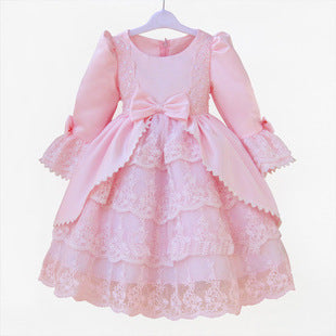 Petal Long Sleeve Court Flower Girl Dress Ball Gown Evening Dress