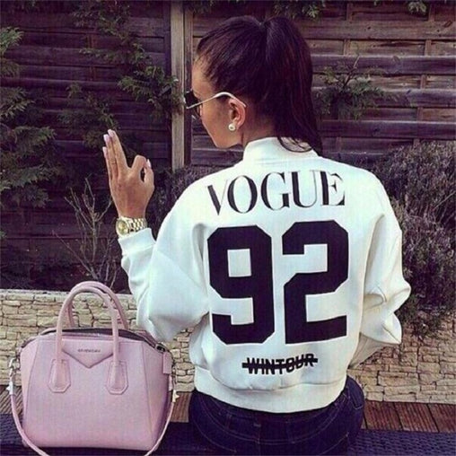 Woman Spring Autumn Fashion Long Sleeve Letter Printed Basic Bomber Jackets