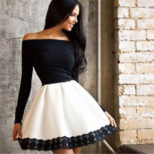 White and Black Patchwork A Line Long Sleeve Off Should Short Dress Plus Size