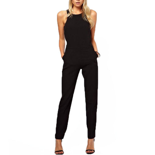 Plus Size Summer Black Casual Solid Sleeveless Crew Neck Jumpsuit