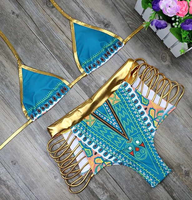 Gold High Waist Two Pieces Bikinis Sets African Geometric Printed Bathing Suits Swimwear Swimsuit