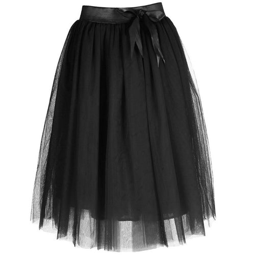 Red Black Bow Tie High Waist Plus Size Pleated Tutu Tulle Midi Skirt