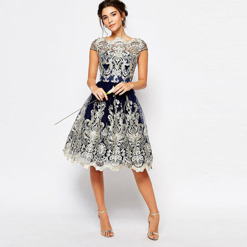 Prom Lace Vintage Embroidery Hollow Out Midi Dress Short Sleeve Ball Gown Evening Dresses