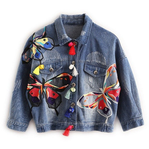 Woman's Patch Designs Colorful Butterfly Embroidery Jean Jackets With Tassel