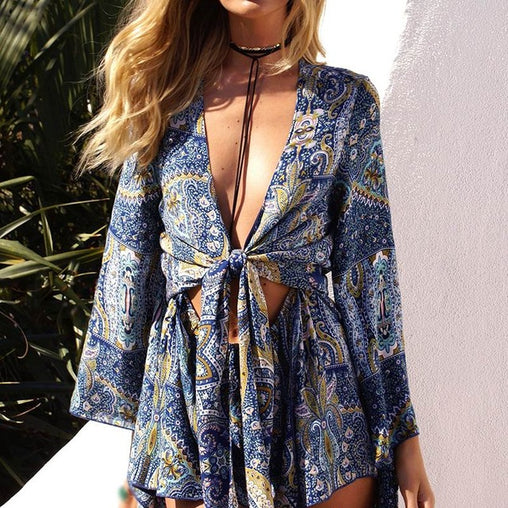 Sexy Deep V Neck Long Sleeve Floral Print Rompers