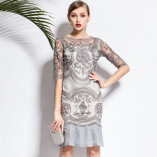 Vintage Summer Lace Flower Crochet Half Sleeve Pleated Midi Dress