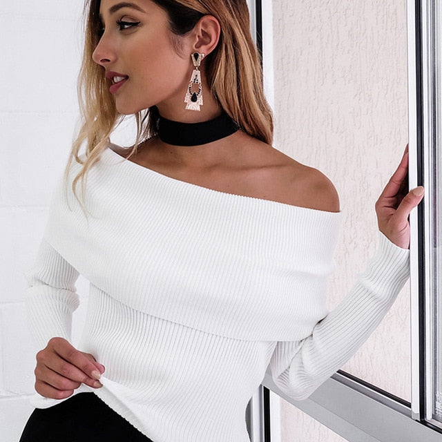 Off Shoulder Knitted Sweater Women Winter Slim Pullovers Autumn Jumper