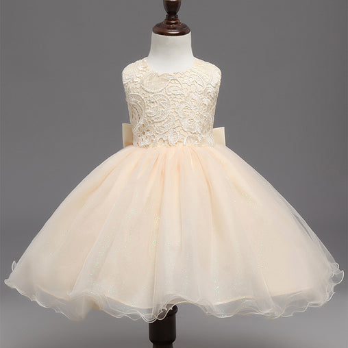 Flower Girl Dress Champagne Lace Gown Tutu Formal Backless Princess Evening Party Dresses