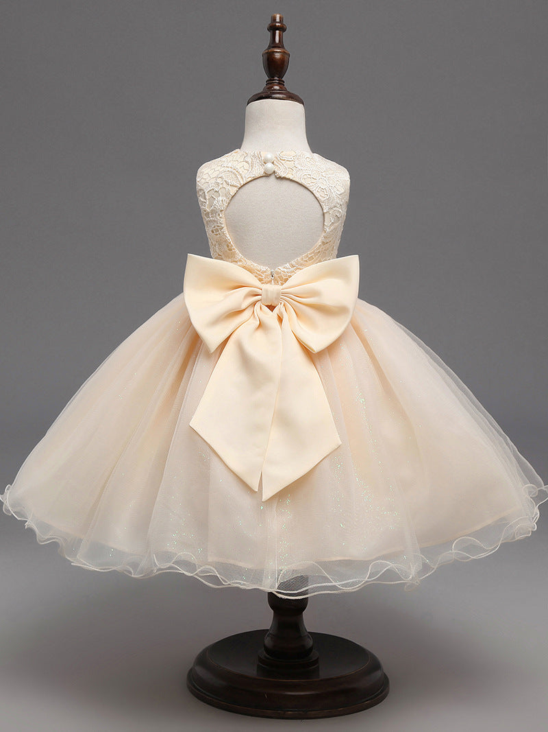 Flower Girl Dress Champagne Lace Gown Tutu Formal Backless Princess Evening Party Dresses 2018
