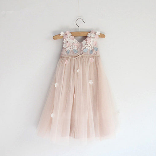 Summer Fashion Flower Girl Dress Lace Vest Princess Dress High Waist Party Dress