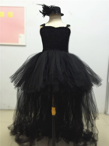 Black Flower Girls Dress for Wedding Gown Halloween Evening Party Dresses