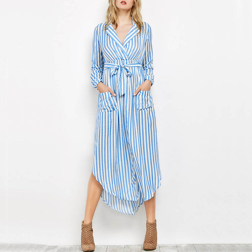 Fashion Black White Striped Long Split Boho Beach Shirt Dress
