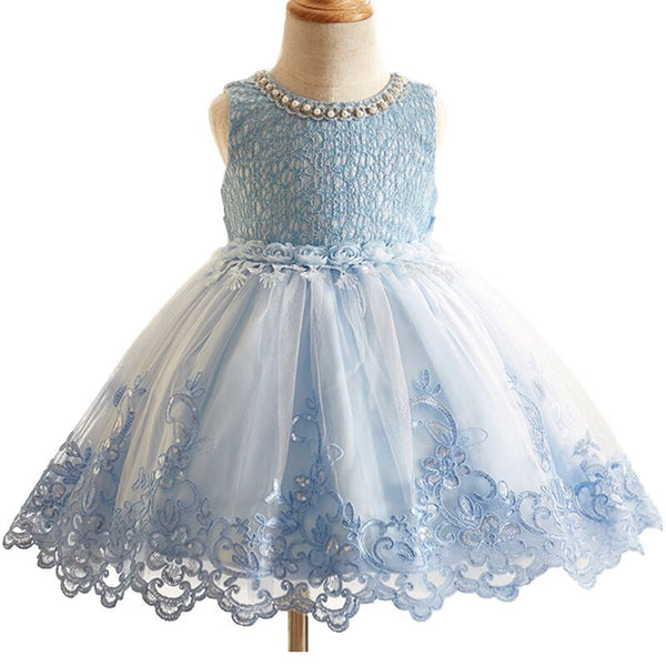 Flower Girls Dresses For Wedding Embroidered Formal Birthday Party