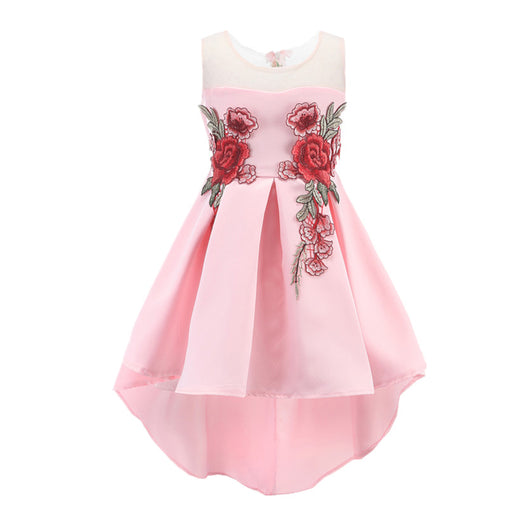 Flower Girl Dress Embroidery Trailing Floral Party Dress