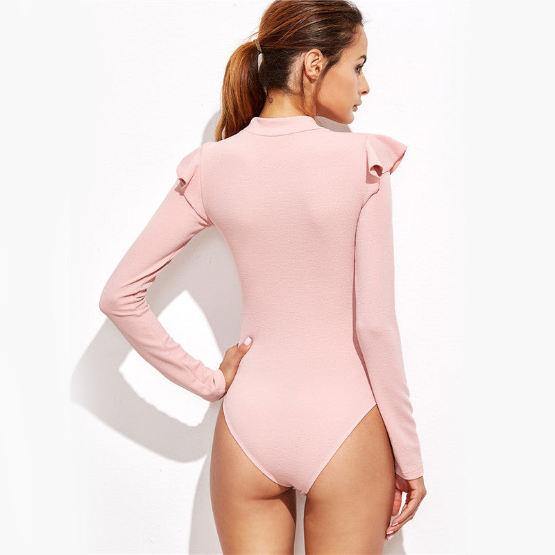 Pink Mock Neck Frill Trim Long Sleeve Bodysuit