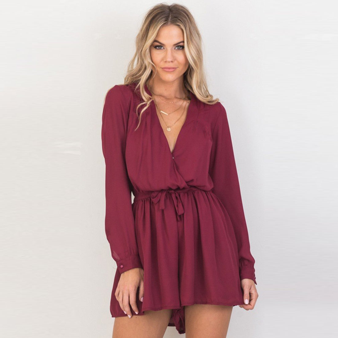 Casual Loose Elastic Waist V-neck Long Sleeve Rompers