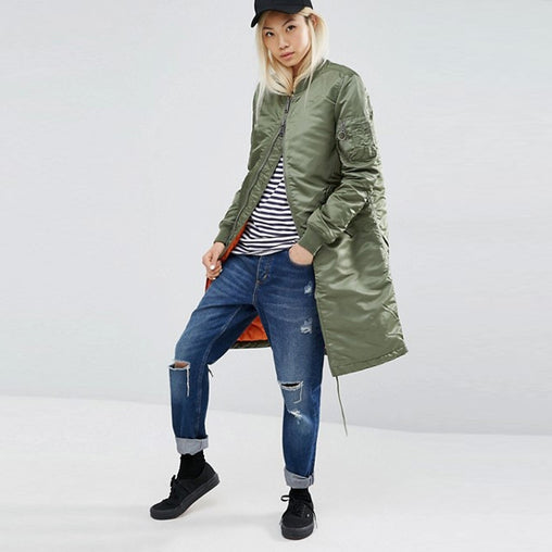 Woman Winter Spring Autumn Casual Military Olive Green Out Wear Long Coats
