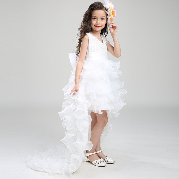 Flower Girls Dresses for Wedding Draggle-tail Ball Gown Party Dress With Bow-knot 3-9 Years