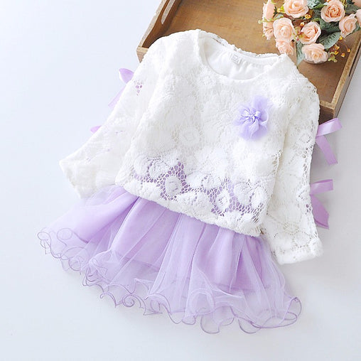 Casual Flower Girl Dress Infant Party Wedding Girls Autumn Kids TuTu Dress Clothing Toddler