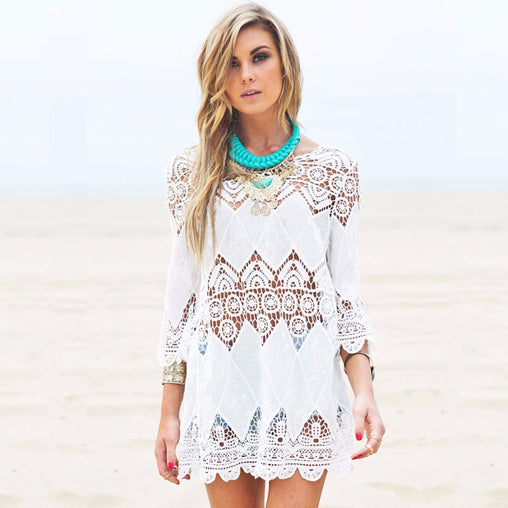 Women White Lace Bathing Suit Cover Ups Summer Sexy Beachwear Dress
