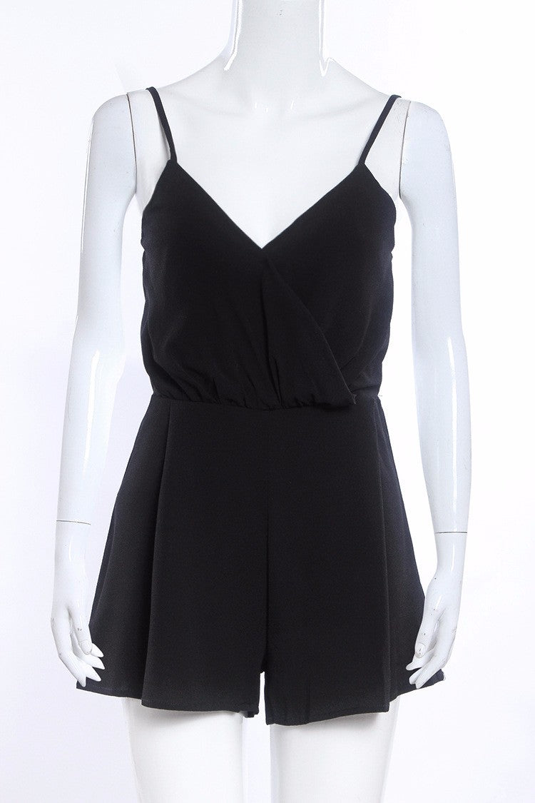 Summer Casual Sleeveless Black Deep V Neck Rompers