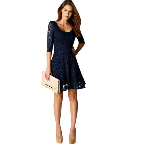 2019 Sexy Lady Women Office Wear Half Sleeve A-Line New Years Party Dress