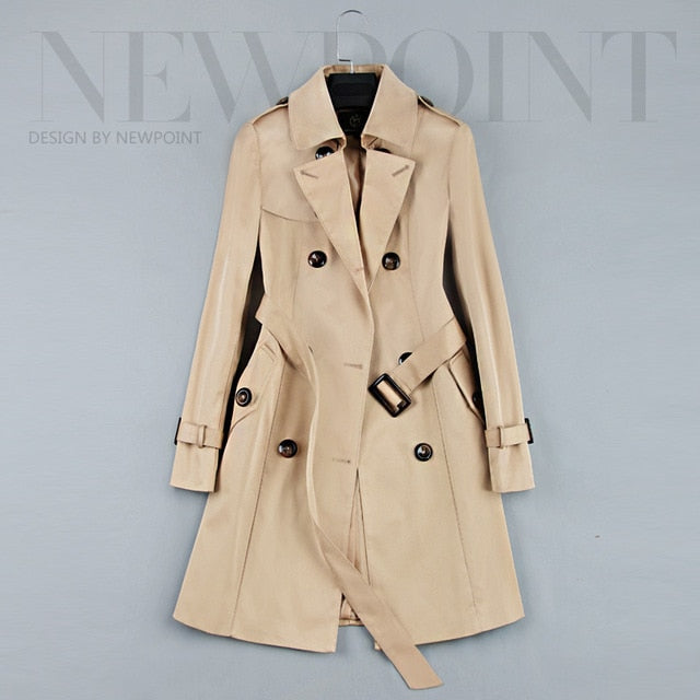 Fashion Double Breasted Mid-Long Women Khaki Slim Belt Trench Coats