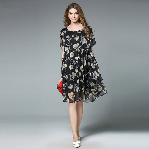Plus Size Summer Boho Beach Short Sleeve Floral Print Midi Chiffon Dress